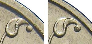 Широкий кант у монеты 1 рубль 1998 года (слева) и обычная монеты (справа)