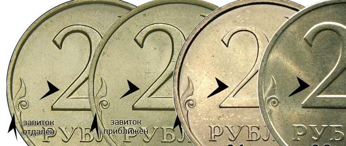 2 рубля 2007 года разновидности шт. СПМД