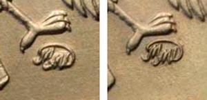 5 рублей 1998 года с приспущенной монограммой